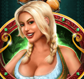 Blonde waitress symbol of the Bier Haus game
